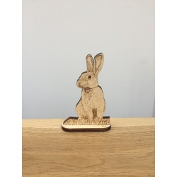 Hand drawn Rabbit laser cut from plywood self-standing
