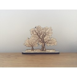 Hand drawn Oak Tree Calke Park laser cut from plywood.
