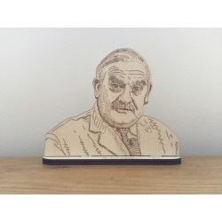 Hand drawn Arkwright laser cut from plywood.