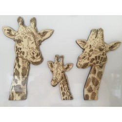 Hand drawn Mr & Mrs Giraffe laser cut from plywood and framed
