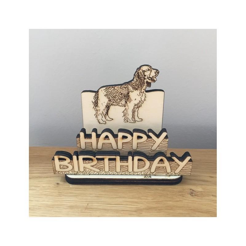 Hand drawn Happy Birthday – Dog laser cut from plywood