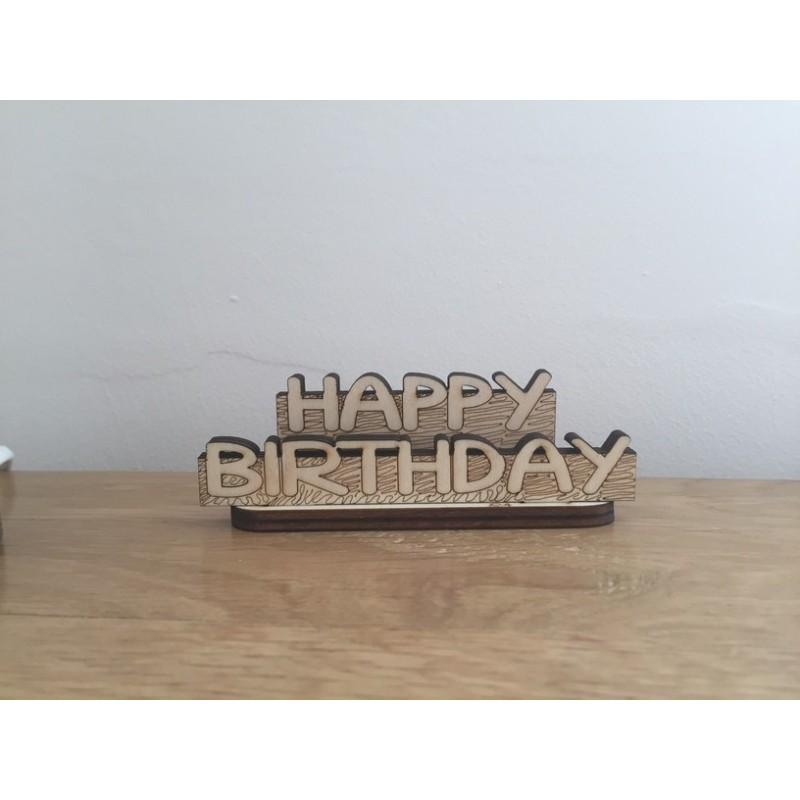 Hand drawn Happy Birthday laser cut from plywood
