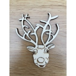 Hand drawn Reindeer Christmas decoration laser cut from plywood