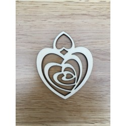 Hand drawn Heart shaped Christmas decoration laser cut from plywood