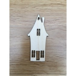 Hand drawn House shaped Christmas decoration laser cut from plywood