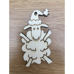 Hand drawn Sheep Christmas decoration laser cut from plywood