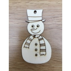 Hand drawn Snowman Christmas decoration laser cut from plywood