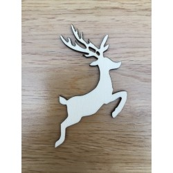 Hand drawn Jumping deer Christmas decoration laser cut from plywood