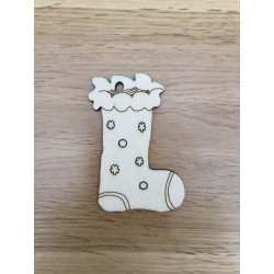 Hand drawn Stocking Christmas decoration laser cut from plywood