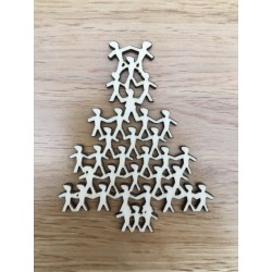 Hand drawn Little people tree Christmas decoration laser cut from plywood