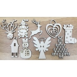 Hand drawn Set of 9 Christmas decorations laser cut from plywood