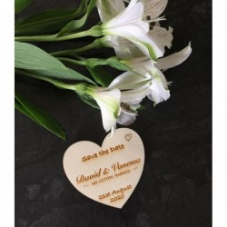 Hand drawn Save the Date Wedding Heart Fridge Magnets laser cut from plywood