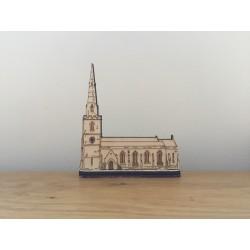 Hand drawn Ticknall Church laser cut from plywood.