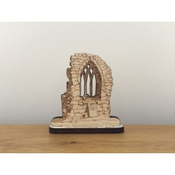 Hand drawn Ticknall Old Church Arch laser cut from plywood.